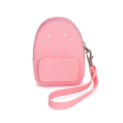 (Silicone Coin Purse Smiling Face Keychain Charms Mini Backpack Shape - Large Capacity PINK)