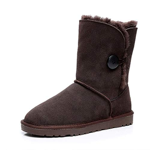 JOYBI Women Winter Fashion Round Toe Ankle Boot Warm Fur Lined Slip On Lightweight Faux Suede Snow Boots