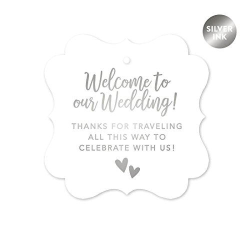 Andaz Press Out of Town Bags Fancy Frame Gift Tags, Welcome to Our Wedding Thanks for Traveling to Celebrate With Us, Metallic Silver, 24-Pack, For Destination OOT Gable Boxes