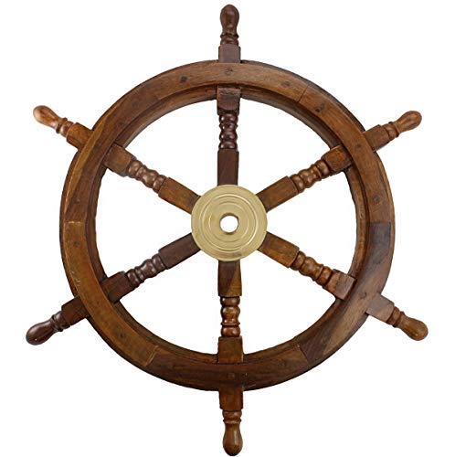 Well Pack Box Wooden Captains Ship Wheel Solid Wood Great Pirate or Nautical Look (24)]()