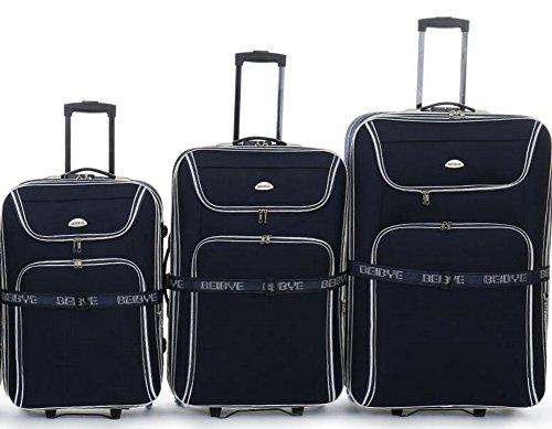 Top-PREZZO - trolley-valigetta - Set 3 teilig - 66 cm (90 litri) + 56 cm (50 litri) + 76 cm (125 litri), estendibile - colore blu scuro