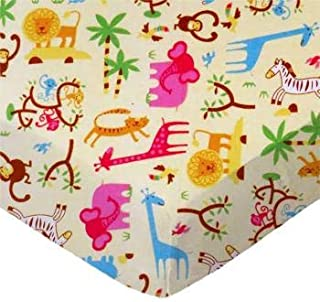 product image for SheetWorld 100% Cotton Flannel Fitted Crib Toddler Sheet 28 x 52, Jungle Animals Yellow, Made in USA