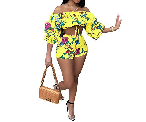 JUNBOON Women Off Shoulder Ruffle Floral Print Crop Top Short Pants Jumpsuits 2 Piece Outfits
