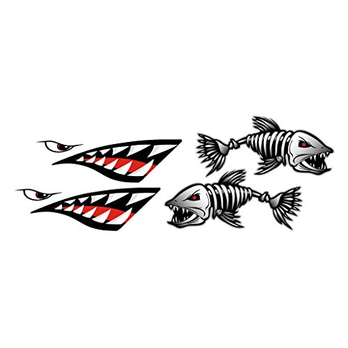 Jili Online Shark Teeth Mouth Decals + Skeleton Fish Stickers - Waterproof and Durable Funny Vinyl Stickers for Kayaks Canoes Fishing Boats Shark Fishing Kayak