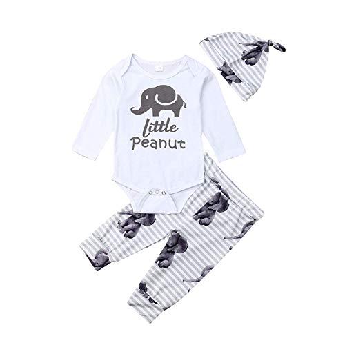 (Newborn Baby Elephant Clothes Boy Girl Animal Little Peanut Romper Top+Striped Long Pants+Hat 3Pcs Set (White,3-6 Months))