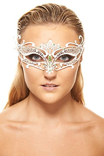 [Venus White Masquerade Mask (Green Rhinestones; Unisex; One Size Fits Most)] (Womens Masquerade Costume Countess)