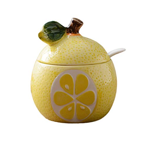 (BESTONZON Fruit Shaped Ceramic Sugar Bowl Salt Pot Pepper Storage Jar Seasoning Pot Container Condiment Spice Box Holder with Lid and Spoon (Lemon Pomelo))