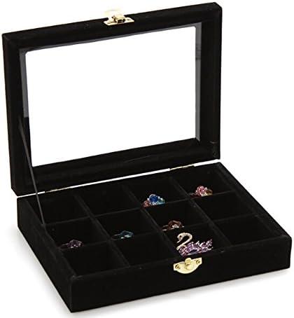 Yihiro 12区画 ベロア調 コレクション ボックス アクセサリーボックス ジュエリーボックス 指輪 ピアスケース ディスプレイ 展示 ジュエリー収納(ブラック)