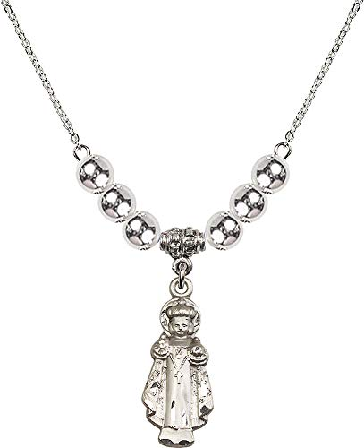 18-Inch Rhodium Plated Necklace with 6mm Sterling Silver Beads and Infant of Prague Charm. Patron Saint of Children/Schools