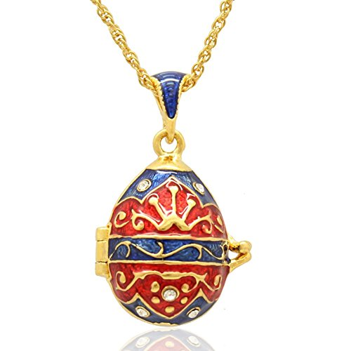 (MYD Jewelry New Enameled Stylish Crystal Crown Faberge Egg Locket Pendant Necklace (Red Blue))