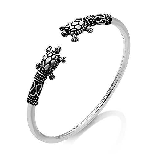 Chuvora 925 Oxidized Sterling Silver Tribal Sea Turtle Rope Design Surfer Scuba Diver Unisex Cuff Bracelet (Native American Symbol For Mother And Daughter)