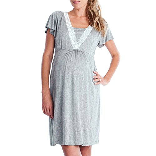 Toponly Breastfeeding Nursing Baby for Maternity Womens Mother Lace Pregnants Casual Pajamas Dress ()