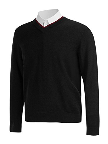 Choies Men's Black Warm Double Layer Contrast V-Neck Knitted Sweater Jumper XL (V-neck Sweater Double)