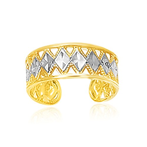 ff Type Cut-Out Toe Ring with Diamond Design (Two Tone Toe Ring)