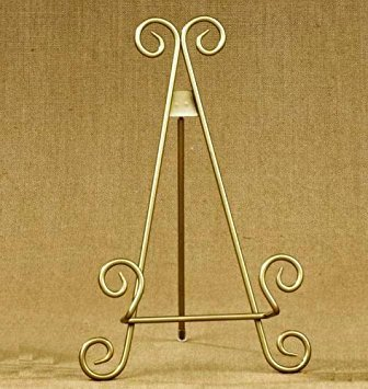 """11""""h Gold Finish Metal Display Easel/Platter Stand ~ Great for Display Photo Frames and Collectible Plates"""