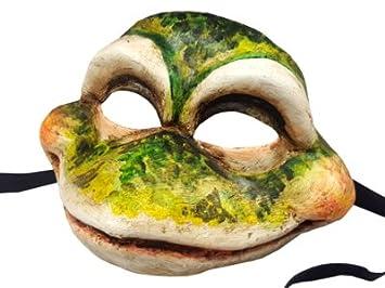 Tradicional pintada a mano sapo rana auténtico color realista Carnaval de Venecia máscara de cara completa