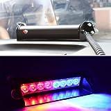 8 LED Car Truck Police Strobe Flash Light Dash Warning Emergency LED 12V 3 Flashing Mode Red/Blue