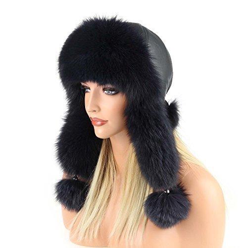 Damen Pelzmütze Fellmütze FUCHS Leder MÜTZE Fliegermütze Wintermütze Skimütze Fox Uschanka Polarmütze Russische Mütze EchtFell