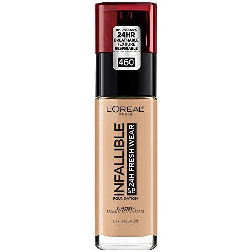 L'Oréal Paris Makeup Infallible up to 24HR Fresh Wear Liquid Longwear Foundation, Lightweight, Breathable, Matte Finish, Medium-Full Coverage, Sweat & Transfer Resistant, Golden Beige, 1 fl. oz. from L'Oreal Paris