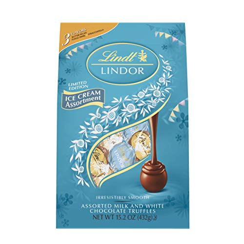 Lindt Lindor Ice Cream Themed Chocolate Truffles Bag, Assorted (Butter Pecan, Fudge Swirl & Stracciatella), 15.2 Oz