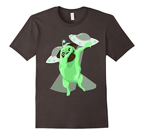 Mens Dabbing Alien Pug Funny Dog Lover Graphic Tshirt Large Asphalt