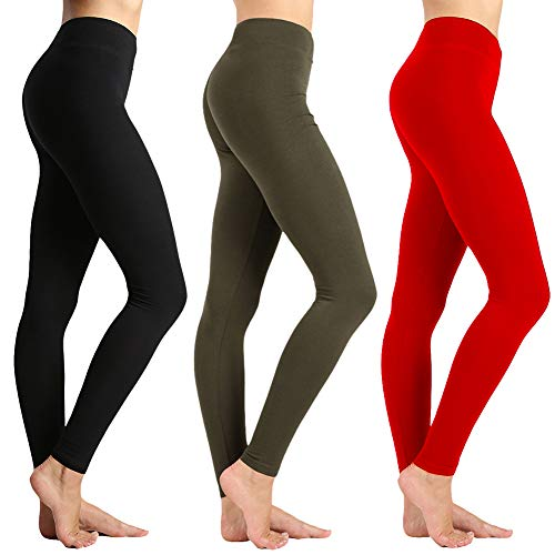 ZOOSIXX High Waisted Leggings for Women - Tummy Control Soft Leggings Opaque Slim (Black,Olive,Red, One Size (US 2-12))
