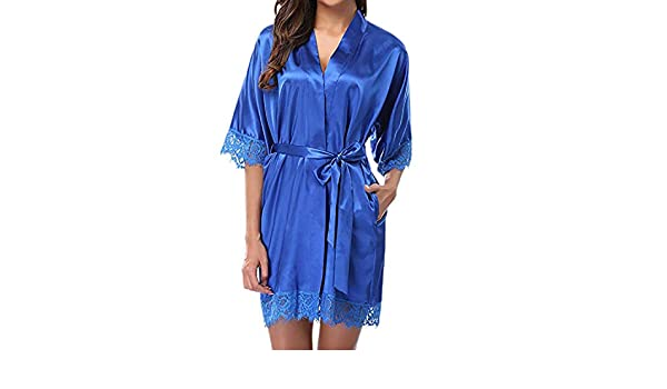 Amazon.com: Womens Lady Sexy Lace Sleepwear Satin Nightwear Lingerie Pajamas Suit Woman Robes Sleeping Dressing Gown batas de Mujer, Blue, M, ...