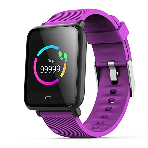 1.3-inch Color Screen Waterproof Smart Bracelet with Pedometer Fitness Tracker Sleep Monitoring Sports Wristband for iPhone iOS and Android Smartphone-Purple
