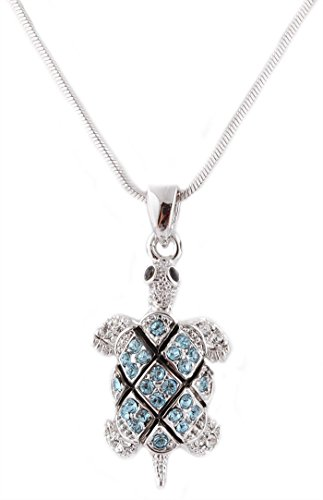 Silvertone with Light Blue Iced Out Turtle Pendant - Turtle Necklace Blue