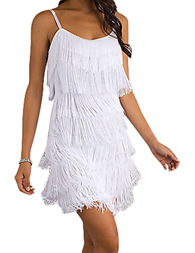 Designer Day Dresses - Cheryl Creations Women's Short All-Over Fringe Flapper Sleeveless Comfortable Day/Night Mini Dress with Adjustable Bra Straps