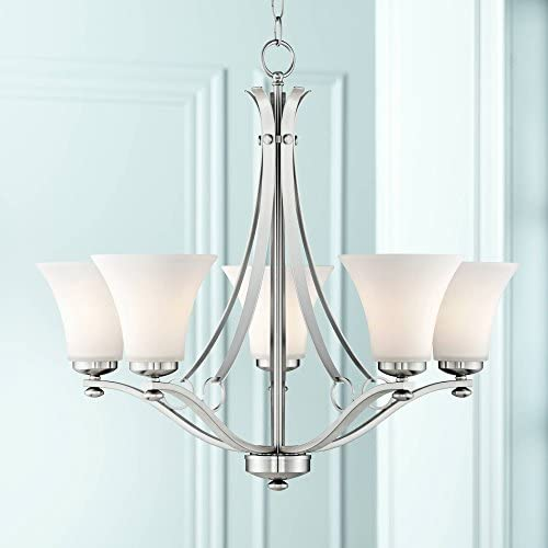 Bollyn Brushed Nickel Chandelier 26 1 2 Wide Modern Curved Arms White Glass 5-Light Fixture for Dining Room House Foyer Kitchen Island Entryway Bedroom Living Room – Possini Euro Design