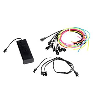 DK 6 Meter Flexible Car Decorative Neon Light 2.3mm EL Wire Rope with Battery Power Supply£¨Delivery color£©(Orange)