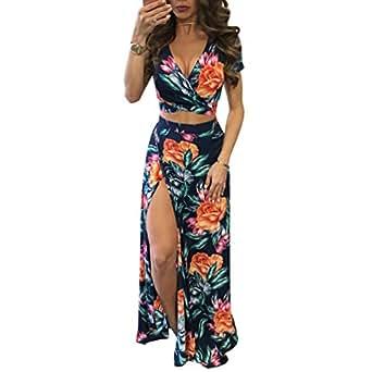 Yujeet Mujer Vestido Flor Bohemia Conjuntos de Crop Top y Falda 2 Piezas V Cuello Irregular Vestidos de Playa (Estampado, Asia L)