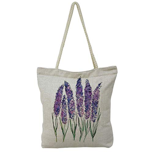 Handbag Cotton and linen shoulder bag Small and fresh literature and art,Watercolor Flower,Illustration of Lavender Flowers with Fresh Colors Mint Family Plant,Violet Green White,Picture Print Design.