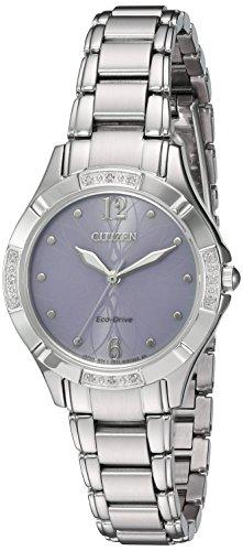 Citizen Women's 'Eco-Drive Diamond' Quartz Stainless Steel Dress Watch, Color:Silver-Toned (Model: EM0450-53X)
