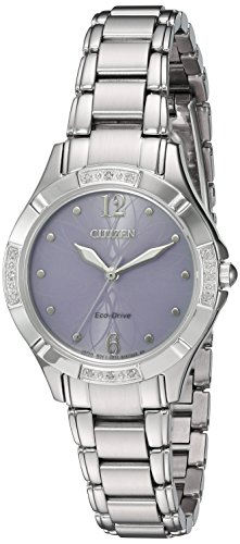 Stainless Steel Diamond Watch (Citizen Women's 'Eco-Drive Diamond' Quartz Stainless Steel Dress Watch, Color:Silver-Toned (Model: EM0450-53X))