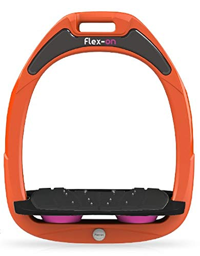 【 限定】フレクソン(Flex-On) 鐙 ガンマセーフオン GAMME SAFE-ON Mixed ultra-grip フレームカラー: オレンジ フットベッドカラー: ブラック エラストマー: ピンク 09167   B07KMF4TGP