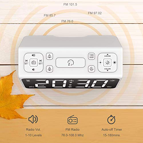 AUROULA Bedside Alarm Clock for Kids, Adults and Heavy Sleepers with Night Light, Sleep Aid, Large Display Time / Snooze / FM Radio / 7 Natural Sounds, 2 Alarms, and Easy Travel Settings