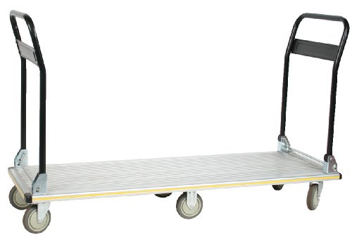 - Wesco Industrial Products 270389 Aluminum Long Deck Truck with Folding Handle, Rubber Non-Marking Caster Wheels, 660 Pound Capacity, 18-1/2