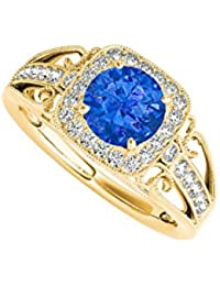 September Birthstone Sapphire and CZ Filigree Ring
