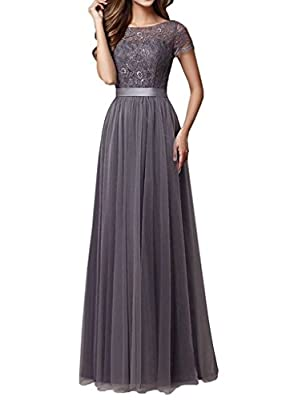 Kevins Bridal Women's Lace Bridesmaid Dresses 2017 Tulle Long Prom Evening Dress