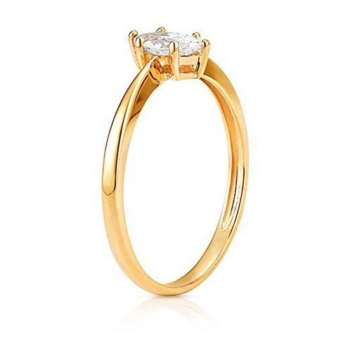 Simple Marquise CZ Stackable Promise Ring in 14K Yellow Gold (6) by Jewel Connection (Image #1)