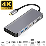 USB-C to HDMI VGA Ethernet Hub Adapter,Compatible with MacBook/MacBook Pro,Samsung DeX for Galaxy S9/S8/Note 9/8,Nintendo Switch Adapter
