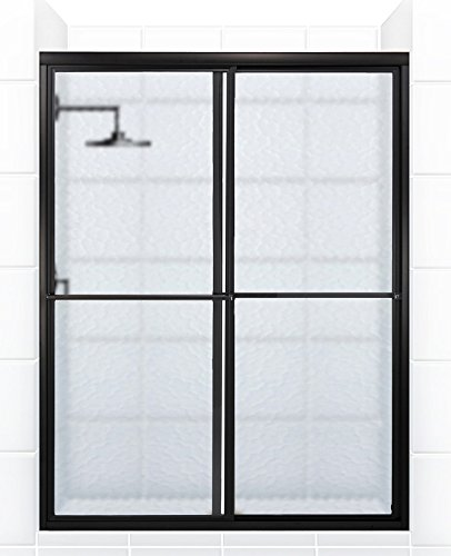 Coastal Shower Doors Newport Series Framed Sliding Shower Door with Towel bar In Obscure Glass, 46
