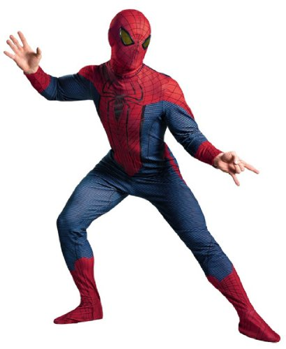 Disguise Marvel The Amazing Spider-Man Movie Deluxe Adult Licensed Costume, Red/Blue/Black, X-Large (Mens Black Spiderman Costume)