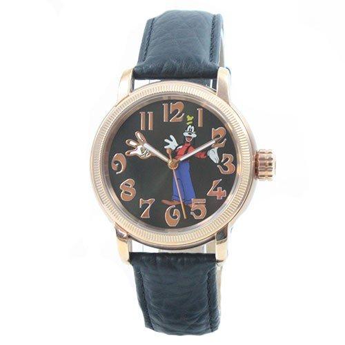 Disney reloj coleccionistas de relojes esqueleto de oro rosa correa de cuero para Mujer automática Goofy