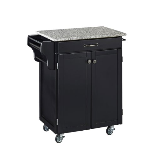 (Create-a-Cart Black 2 Door Cabinet Kitchen Cart with Salt and Pepper Granite Top by Home Styles)