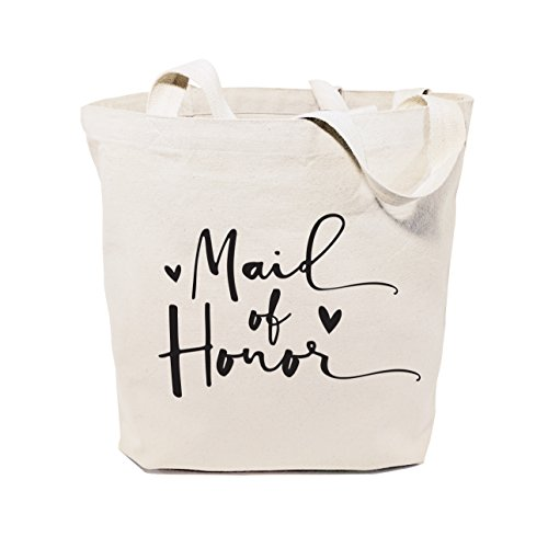 The Cotton & Canvas Co. Maid of Honor Wedding, Beach, Shopping and Travel Resusable Shoulder Tote and Handbag (Tote Maid Of Honor)