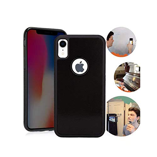 for iPhone XR Case, Anti Gravity Black Case Magic Nano Sticky Case for iPhone 10R 6.1 inch Suction Stick on The Wall Selfie Case with Dust Proof Film ()