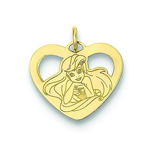 (14k Disney Ariel Heart Charm)